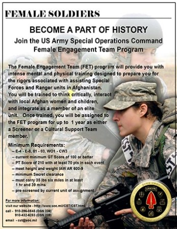 2011 Recruiting poster for the Cultural Support Teams