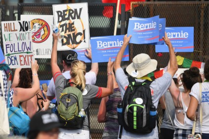 PHILADELPHIA, PA - JULY 25: Bernie Sanders supporters gather at FDR park after marching through downtown on the first day of the Democratic National Convention (DNC) on July 25, 2016 in Philadelphia, Pennsylvania. The convention is expected to attract thousands of protesters, members of the media and Democratic delegates to the City of Brotherly Love. (Photo by Jeff J Mitchell/Getty Images)