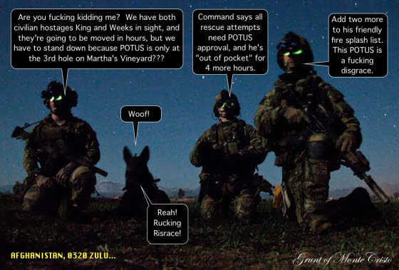 Rangers from Headquarters and Headquarters Company, 3rd Battalion, 75th Ranger Regiment and a multi-purpose canine pause during a nighttime combat mission in Afghanistan.