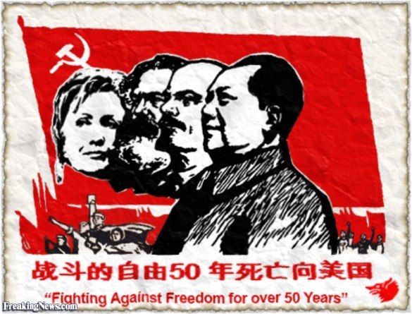 ca. 2002 --- Chinese Communist Poster with Karl Marx, Vladimir Lenin and Mao Zedong --- Image by © Swim Ink/Corbis