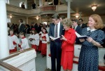 2/19/1982 President Reagan Nancy Reagan Attending a special worship service in honor of George Washington's 250 birthday at Christ Church in Alexandria Virginia
