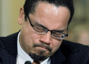 Rep. Keith Ellison, D-Minn., center, the only Muslin in Congress, becomes emotional as he testifies before the House Homeland Security Committee on the extent of the radicalization of American Muslims, on Capitol Hill in Washington, Thursday, March 10, 2011. (AP Photo/Alex Brandon)