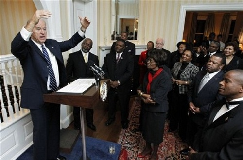 Vice President Joe Biden speaks to guests in the vice president's residence at the Naval Observatory in Washington, Tuesday, Feb. 15, 2011, at an event in honor of Black History Month. (AP Photo/Manuel Balce Ceneta)